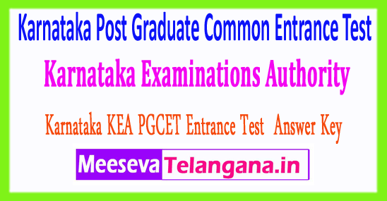 Karnataka Post Graduate Common Entrance Test Examinations Authority PGCET KEA Answer Key 2018 Download