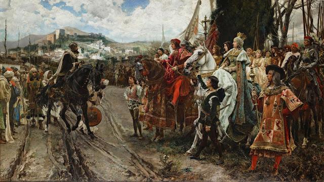 """""""Kapitulacja Granady"""" - obraz autorstwa Francisco Padilla y Ortiz (1882). Oryginał znajduje się w sali Konferencyjnej Pałacu Senatu w Madrycie"""