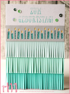 Stampin' Up! rosa Mädchen Kulmbach: Geburtstagskarte mit Fransenschere, Kerzenbordüre, Glitzerpapier und Fenster zum Glück