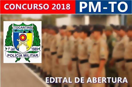 Edital de abertura do concurso PM TO 2018