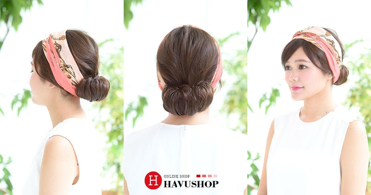 Kiểu tóc búi mùa hè với chiếc khăn lụa sành điệu
