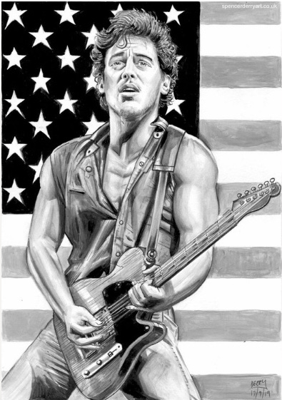 Bruce Springsteen & Fender Guitar - Black and White Portrait Illustrative Drawing.