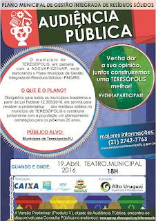 Audiência Pública do Plano Municipal de Gestão Integrada de Resíduos Sólidos de Teresópolis nesta terça, 19, às 18h