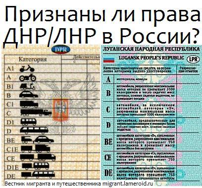 Признаны ли в России водительские удостоверения, выданные в ДНР или ЛНР?