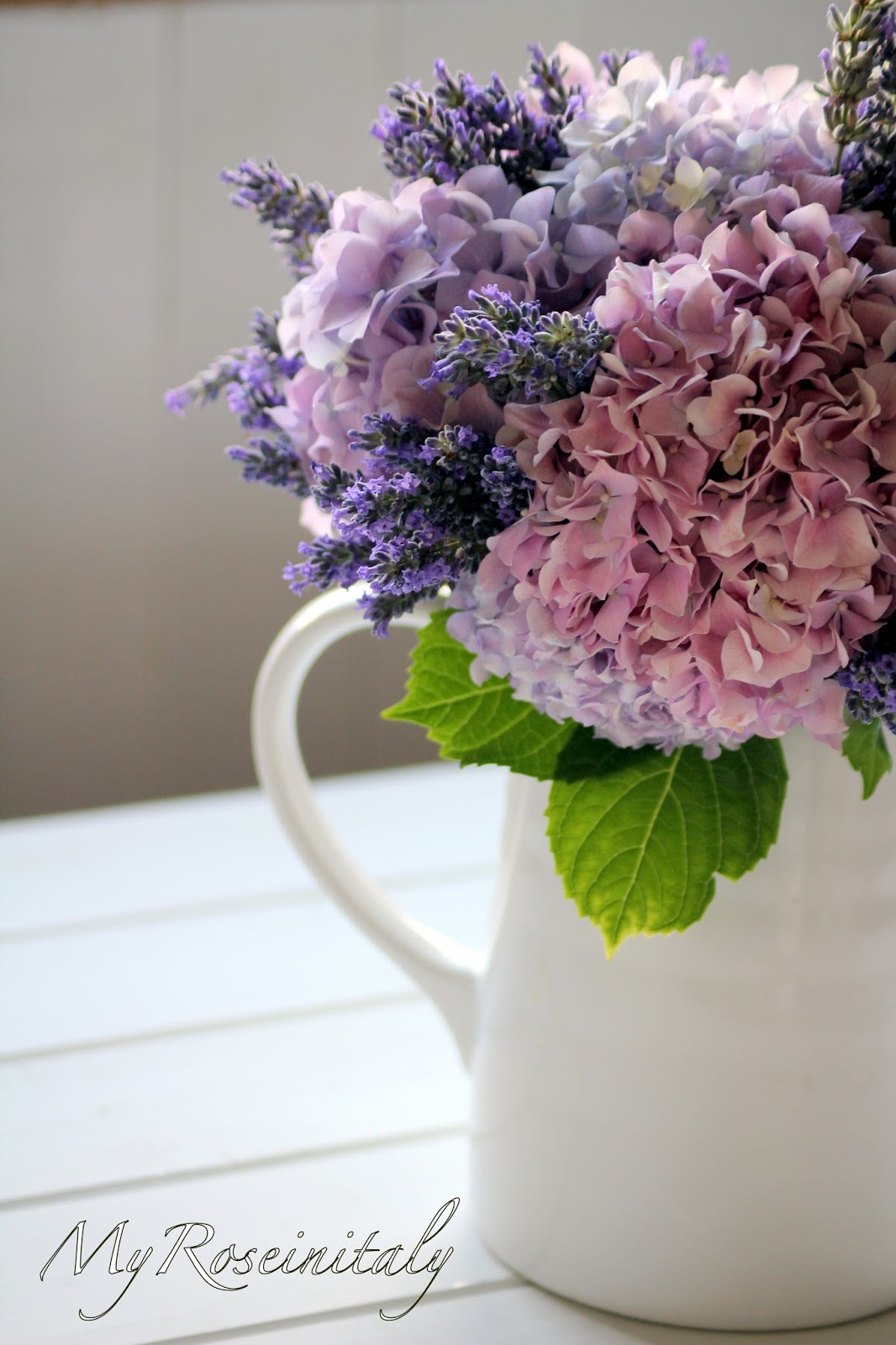 Mazzo Di Fiori Ortensie.My Roseinitaly Un Bouquet Di Ortensie E Lavanda