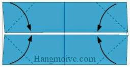 Bước 3: Gấp chéo bốn cạnh tờ giấy vào trong.
