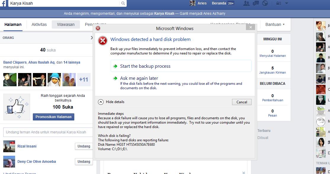 Windows detected a hard disk problem menyebabkan Check Disk atau Scan Disk Lama