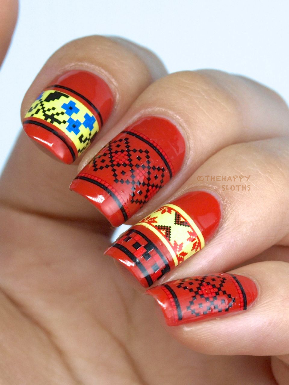 Cross-Stitching Nails: Manicure Featuring Born Pretty Store Water Decals