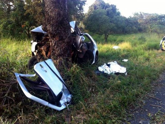 Não sobrou nada! Carro sai da pista da BR 364 se arrebenta em árvore e motorista morre preso às ferragens