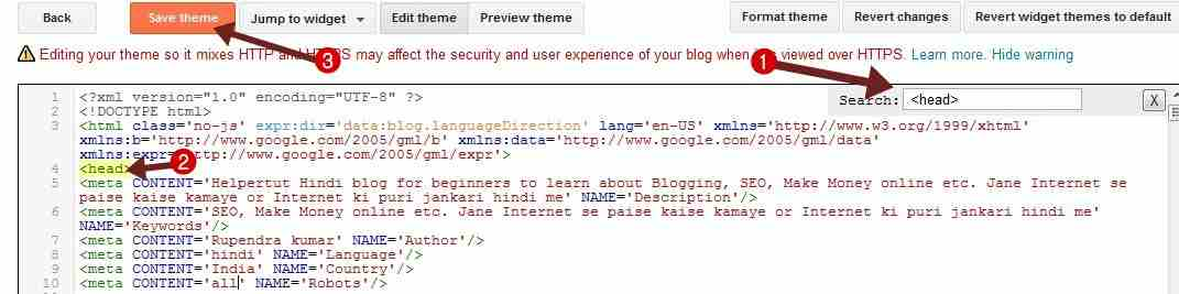 past all meta tags code in blogger html coding