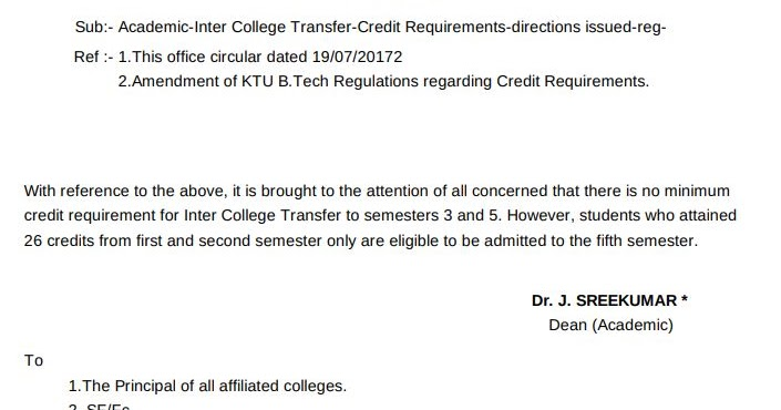 Inter College Transfer Academic Credit Requirements Ktu
