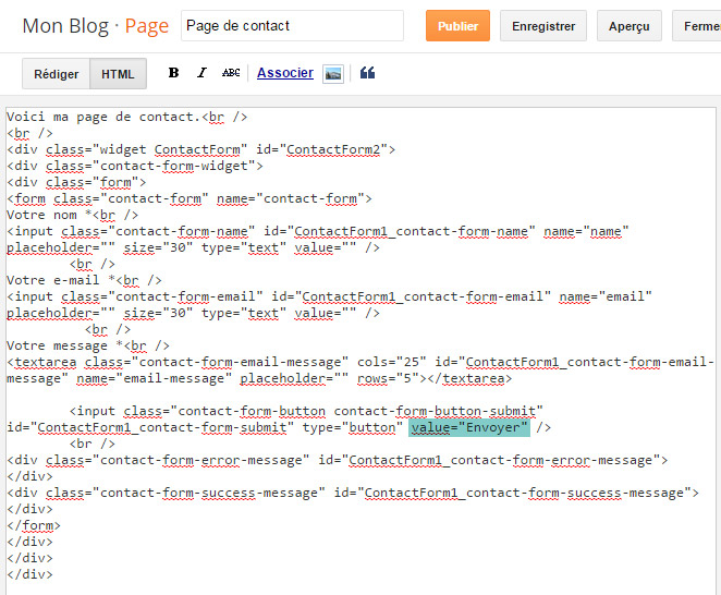 Ajouter le formulaire de contact Blogger DANS une page