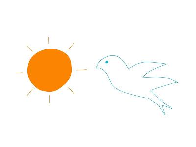 アイコン 「朝」 (作: 塚原 美樹) ~ 太陽をオレンジ色に塗る