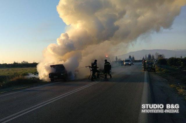 Πυρκαγιά σε αυτοκίνητο στο δρόμο για Λυγουριό