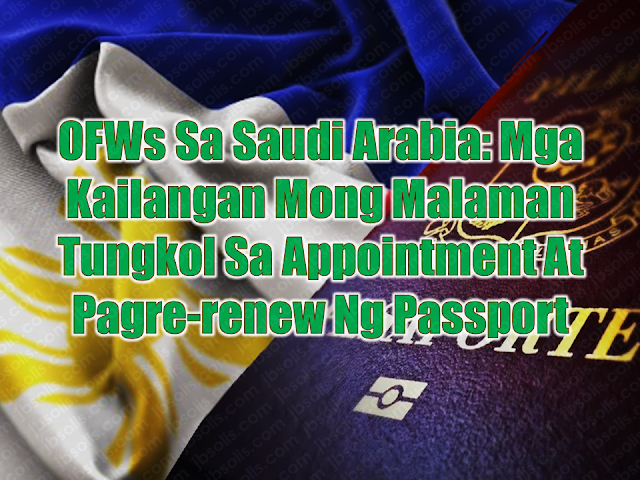 "While appointment slots for passport application and renewal is seemingly a big problem in the Philippines, Filipino migrants are experiencing difficulties in their passport renewal while abroad. Many would rather spend a portion of their vacation just to renew their passport at the Consular office of the Department of Foreign Affairs (DFA) at Aseana and taking the opportunity to enjoy the privilege of the courtesy lane provided by the DFA for OFWs. Some would also renew their passport especially if they have a passport which is expiring very soon. If you are an overseas Filipino worker (OFW) who is working in Saudi Arabia and your passport is in near expiry, you can contact or go personally to the  Philippine Embassy or consulate nearest your area. Of course, you may need first to secure an appointment and you can do it by visiting the official website of the Philippines Embassy in Saudi Arabia at http://philembassyriyadh.checkappointments.com/.  Advertisement         Sponsored Links     Since walk-in passport applicants are not allowed,  all applicants are required to make an appointment online at this link http://philembassyriyadh.checkappointments.com/     However, these following categories are not required to set an appointment and can do walk-in anytime during office hours:    Those with Final Exit visas or are applying for an exit Newborn children (up to one year old) Senior citizen 60 years and older Those with physical disabilities Females who are pregnant (with the medical certificate as proof) Those who have lost their passports and need a replacement    Like the policy of other Philippine Embassies, ""Walk-ins"" (coming to the Embassy to apply for passport renewal without an appointment) are not allowed except for those mentioned above  Applicants are also reminded to input their email address correctly; otherwise, the confirmation message from the Embassy will not get through.  Applicants should  only have one slot or name each in the online system. If you wish to reserve the slot for your child, please use the child's name and information, and use your email address in order to receive and print out the confirmation message.    The Embassy cancels duplicate appointments on the system.  Note: you need to bring your minor children at the Embassy, as their pictures will be captured. A parent/legal guardian has to accompany them. Their appointments must be entered separately, or one appointment for each child. The parent may use his/her email address, in order to receive the confirmation message.    REQUIREMENTS FOR E-PASSPORT RENEWAL:   Appointment Personal appearance  Original passport for renewal  Photocopy of passport (data page only)  E-passport application form that can be downloaded from the Embassy website or obtained from Window 3 of the Consular Section or at the Information Desk at the Embassy lobby (no photo needed). Make sure you complete all entries before you come to the Embassy.    REQUIREMENTS FOR REPLACEMENT OF DAMAGED PASSPORT   No appointment required  Personal appearance  Original damaged passport  Affidavit of Damage of Passport  E-passport application form (no photo needed) REQUIREMENTS FOR REPLACEMENT OF LOST PASSPORT:   No appointment required  Personal appearance  Philippine Statistics Authority (PSA) Authenticated Birth Certificate on Security Paper and a photocopy  Married Females:Original copy PSA Authenticated Marriage Contract on Security Paper  Any of the following Valid IDs with one(1) photocopy:  Social Security System (SSS)/Government Service Insurance System(GSIS) Unified Multi-Purpose Identification (UMID) Card  Land Transportation Office (LTO) Driver's License  Professional Regulatory Commission (PRC) ID  Overseas Workers Welfare Administration (OWWA) / Integrated Department of Labor and Employment(iDOLE) card  Commission on Elections (COMELEC) Voter's ID or Voter's Registration Record from COMELEC Head or Regional Office  Philippine National Police (PNP) Firearms License  Senior Citizen ID  Valid School ID (for Students)  Report of lost passport from Jawazat (Saudi Passport Office) with English translation  Affidavit of Loss in English  Duly accomplished E-passport application form (no photo needed)    (Note: There is a 15 working days waiting period before the approval of the passport application)      REQUIREMENTS FOR NEWLY BORN APPLICANTS FOR E‑PASSPORT:   Report of Birth form accomplished in 4 copies. (Form available at the Consular Section of the Embassy or the website)  Arabic and English temporary birth certificate and/or other supporting documents (e.g. Notification of Birth from the clinic/hospital where the child was born) – 3 copies  Marriage Contract of parents duly authenticated by the Department of Foreign Affairs, Manila (if married in the Philippines) or authenticated by the Saudi Ministry of Foreign Affairs with English translation (if married in KSA) – 3 copies  Photocopies of parents' passports (data page only) – 3 copies  Duly accomplished E-passport application form (no photo needed)    REQUIREMENTS FOR THE RENEWAL OF PASSPORT FOR MINOR APPLICANTS (17 years old and below)   Confirmed appointment (except for 7 years old and below)  Personal appearance of the minor applicant  Personal appearance of either parent  Passport of Minor  Passport of parents  Original Birth Certificate of minor issued by PSA authenticated by DFA or Report of Birth with seal and signature of Consul for those born in the Kingdom.  Marriage Certificate of minor's parents issued by PSA authenticated by DFA or Report of Marriage issued by Philippine Embassy, if married in the Kingdom.       ENCODING AND PAYMENT FOR YOUR PASSPORT    Your photo and biometrics will be captured at the encoding area.    Review your passport enrollment certificate before signing, as your signature indicates consent and acceptance of the details as encoded for printing in your new passport. If there is a mistake in the encoding (the most common mistakes are birthdates, the spelling of the first name or surname, and gender of an infant), the resulting passport will also carry that mistake. In such cases, the applicant will have to reapply for a new passport, pay for the same fees, and wait for the same amount of time (30-45 days).    Bring this collection slip to the cashier for processing and pay the passport fee of SR 240.00 for regular renewal in cash.      PASSPORT FEES:    Renewal   e-Passport -SR 240     Lost Passport e-Passport -SR 600  *Additional SR 100 for Affidavit     Newborn Children   Report of Birth -SR 100.00       As part of our government regulations, the Embassy does not accept debit or credit cards. The nearest ATM machines and bank are about 200 meters away.     Please note that if the payment is not made, the ePassport process will not be complete, and you will be unable to claim any passport, as the system will not start the manufacture of your passport.    REMINDERS: Always keep a copy of your passport and iqama with you. Also keep a copy of the page with your entry visa and entry border code.   Make sure your passport is valid for at least 9 months if you will use it to travel.   It takes about 6-8 weeks for your passport to be released after encoding at the Embassy. Get an appointment for e‑Passport renewal at least 9 months before it expires.  READ MORE: Can A Family Of Five Survive With P10K Income In A Month?    Do You Know The Effects Of Too Much Bad News To Your Body?    Authorized Travel Agency To Process Temporary Visa Bound to South Korea    Who Can Skip Online Appointment And Use The DFA Courtesy Lane For Passport Processing?"