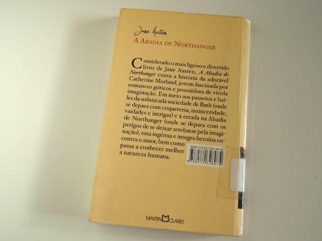 contracapa do livro A Abadia de Northanger escrito por Jane Austen