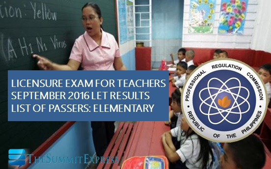LET Results September 2016: Alphabetical List of Passers Elementary