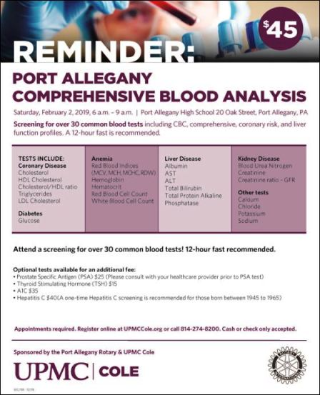 2-2 Comp. Blood Analysis, Port Allegany