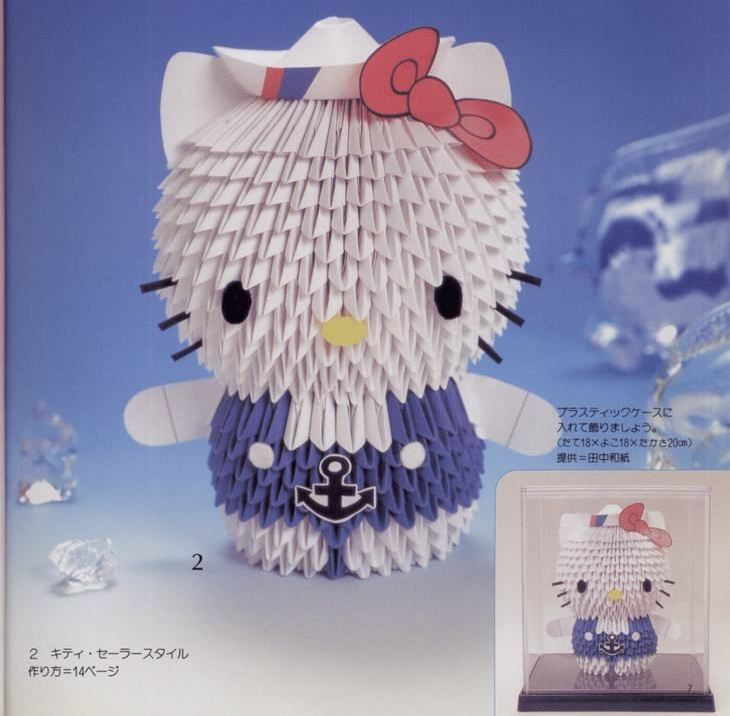 HOW TO MAKE 3D ORIGAMI HELLO KITTY | DIY PAPER HELLO KITTY ... | 716x730