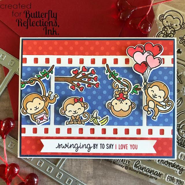 Sunny Studio Stamps: Love Monkey Fall Flicks Filmstrip Customer Card Share by Dana Kirby
