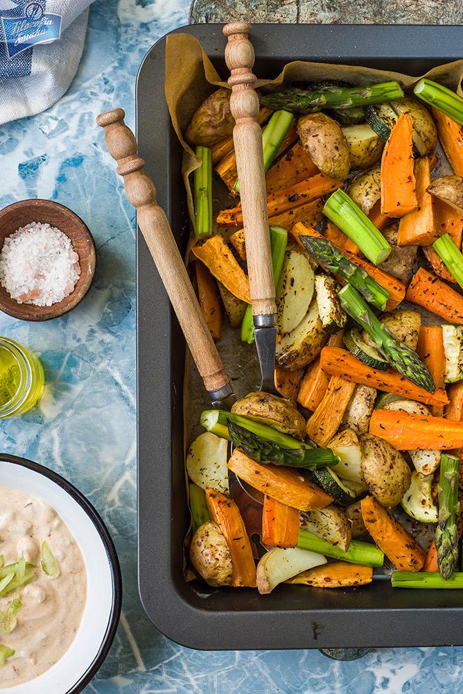 Warzywa pieczone ze szparagami