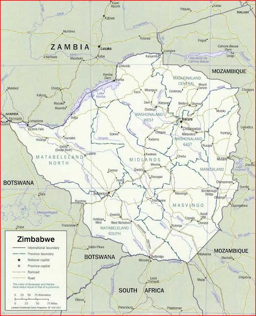 Gambar Peta politik Zimbabwe