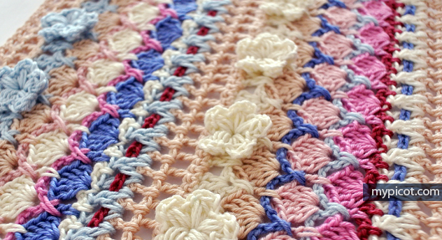 crochet flower shell stitch + diagrams + free pattern step by step