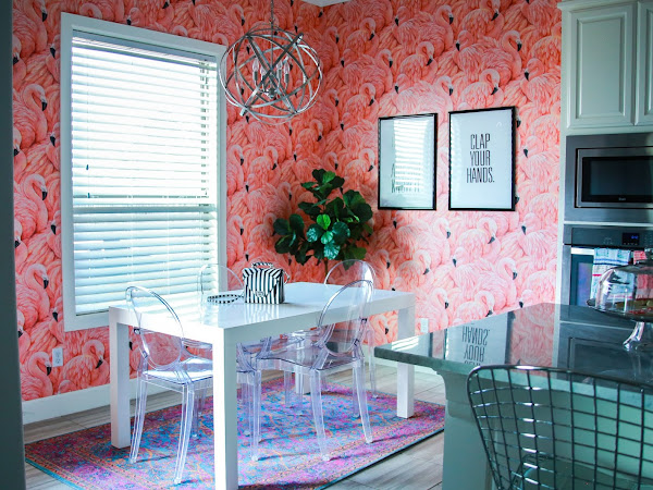 Flamingo Wallpaper | Kitchen Nook Makeover