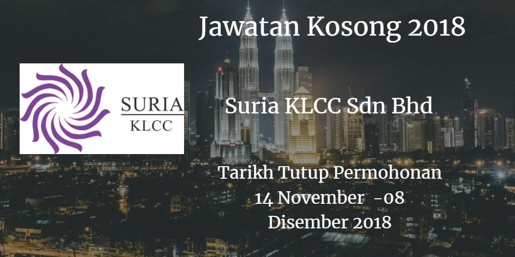 Jawatan Kosong Suria KLCC Sdn Bhd 14 November - 08 Disember 2018