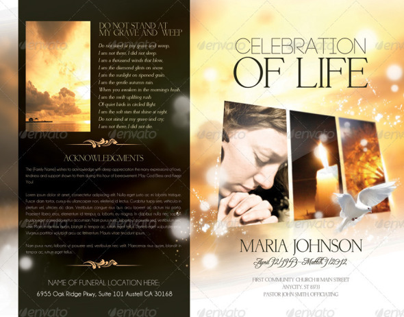 100 free premium brochure templates photoshop psd for Free celebration of life program template