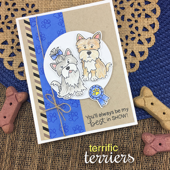 Best in Show Dog card by Jennifer Jackson | Terrific Terriers | Dog Stamp Set by Newton's Nook Designs #newtonsnook