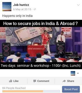 Reach of jobhuntzz Facebook page