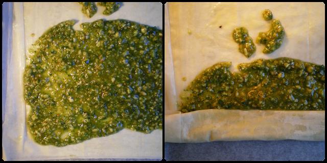 Baklava de pesto de albahaca y nueces: Relleno de pesto