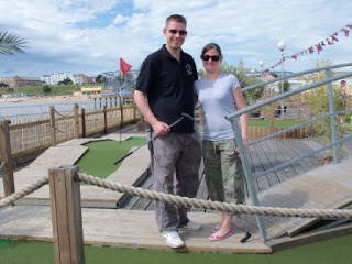 Richard and Emily Gottfried at the Miniature Golf course on Clacton Pier
