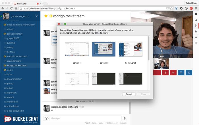 برنامج, روكيت, شات, عملاق, المحادثات, واجراء, المكالمات, الجماعية, ودردشة, الفيديو, Rocket.Chat