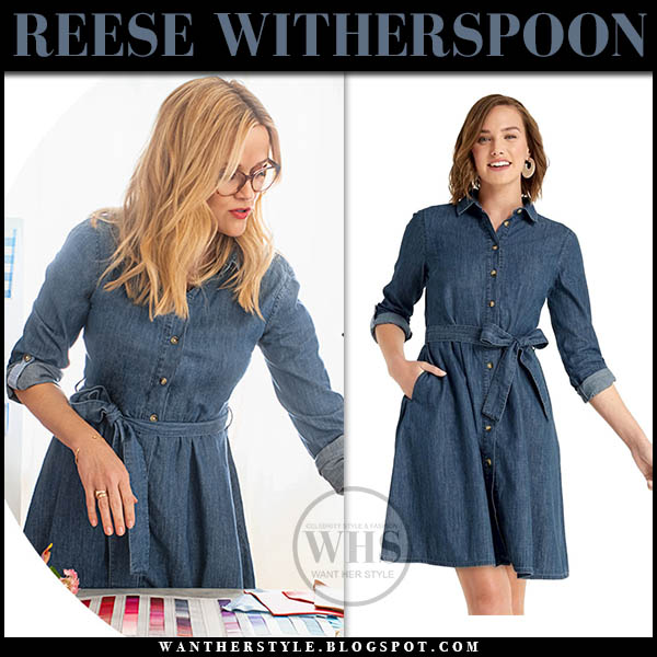 Reese Witherspoon in denim belted shirtdress draper james celebrity style january 2019