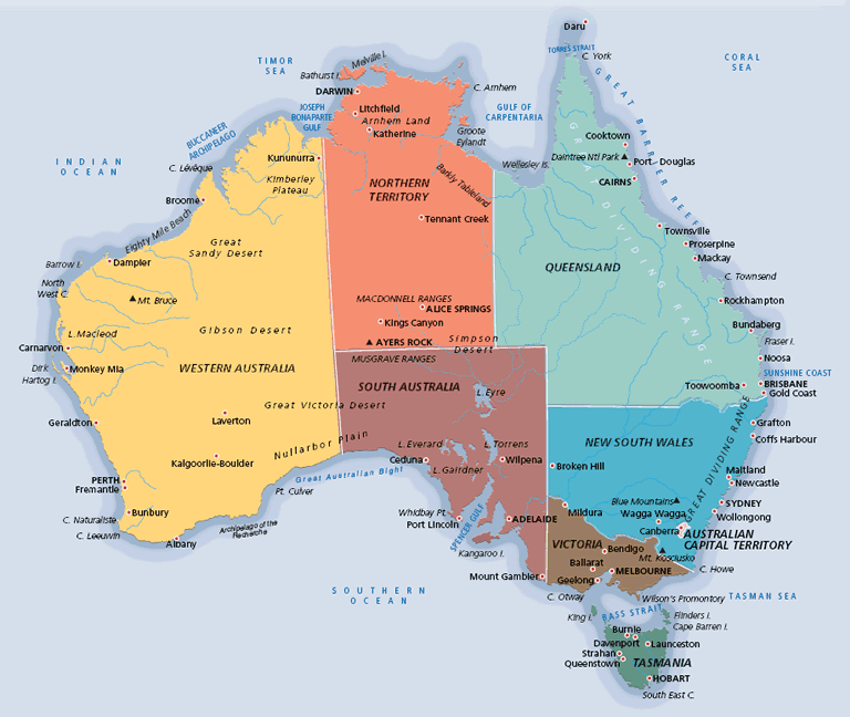 Map of Australia 10 Most Beautiful Island Countries in the World