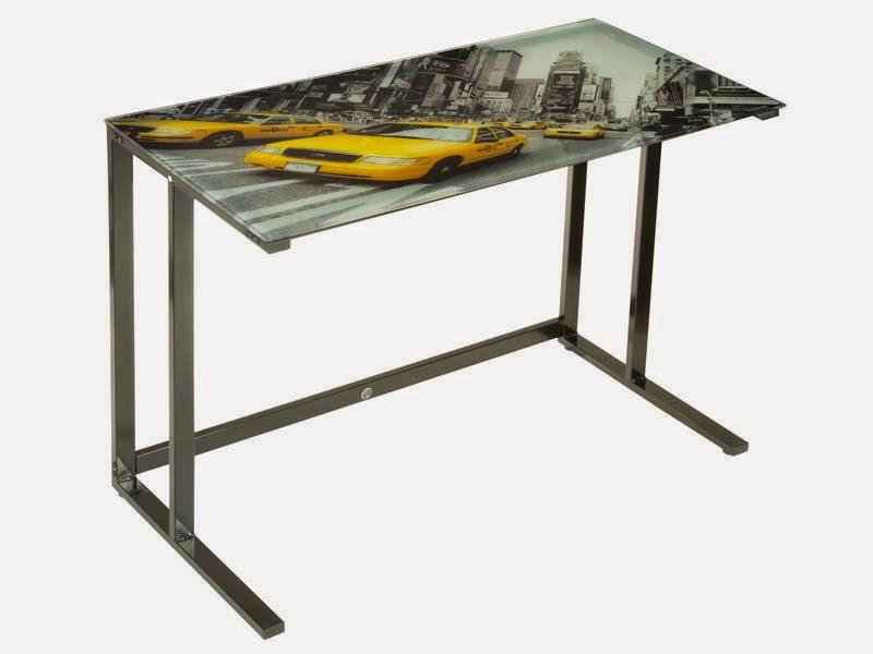 mesa auxiliar metal y cristal, mesa despacho