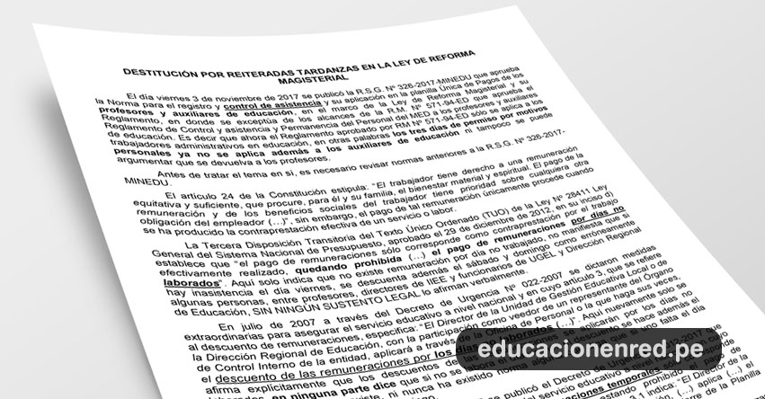 ANÁLISIS: Destitución por reiteradas tardanzas en la Ley de Reforma Magisterial (Fernando Gamarra Morales)