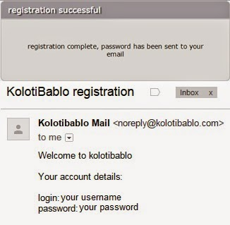 Password will be sent to your e-mail ID Kolotibablo