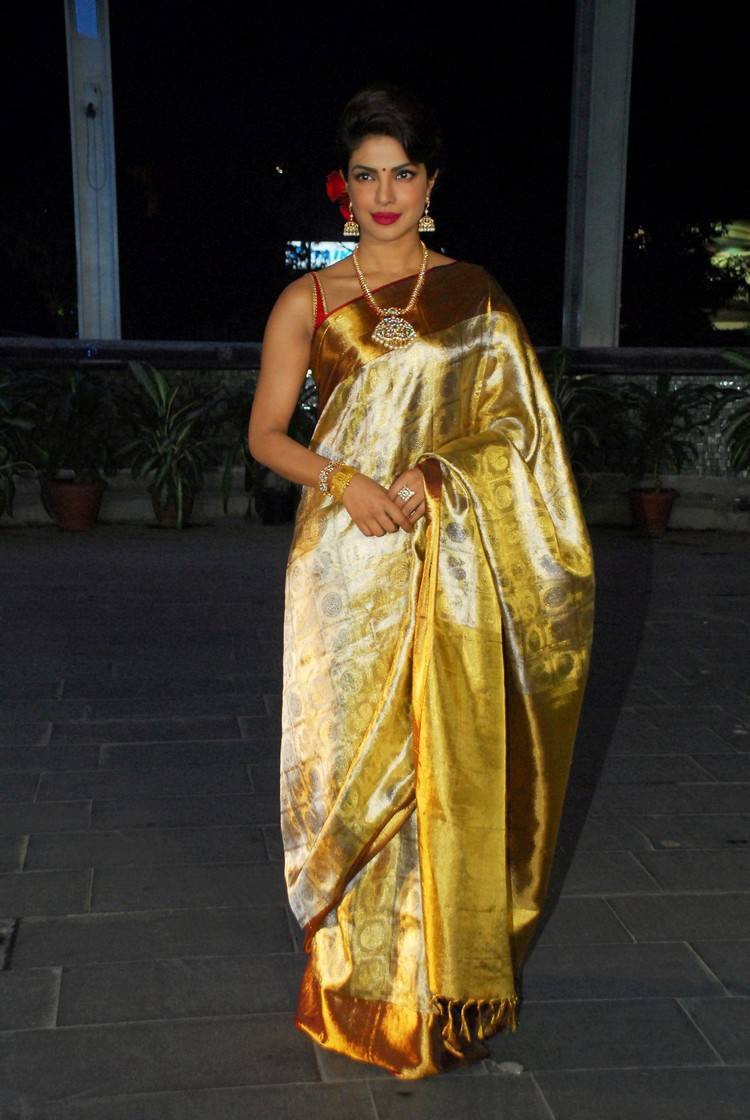 Priyanka Chopra Latest Hot Stills In Yellow Saree