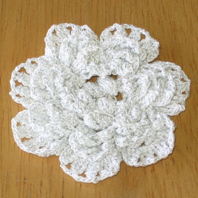 White Crochet Flower Brooch or Pin With Silver Accents - Handmade By RSS Designs In Fiber