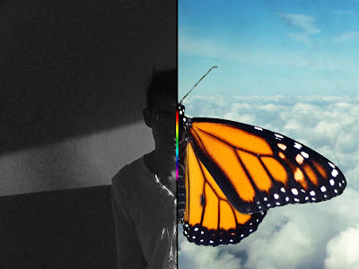 Over the Rainbow por el escritor artista y modelo Sir Helder Amos inspirado en la transición y metamorfosis de las mariposas mmonarcas y el MONARCH PROGRAMMING que vielan libres por los cielos, edit fotografico en photoshop