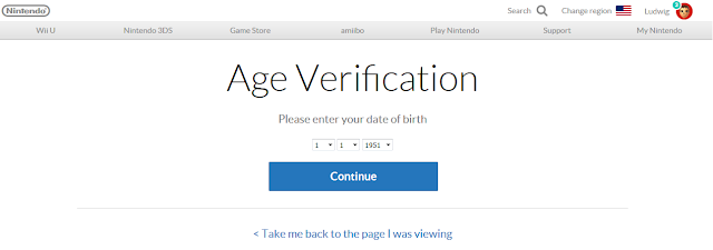 Nintendo.com age verification date of birth M-rated games