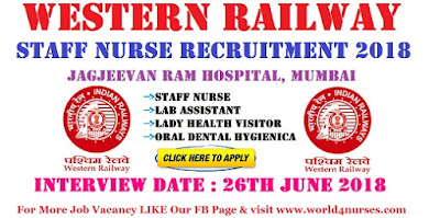 Western Railway Staff Nurse Recruitment 2018 Mumbai