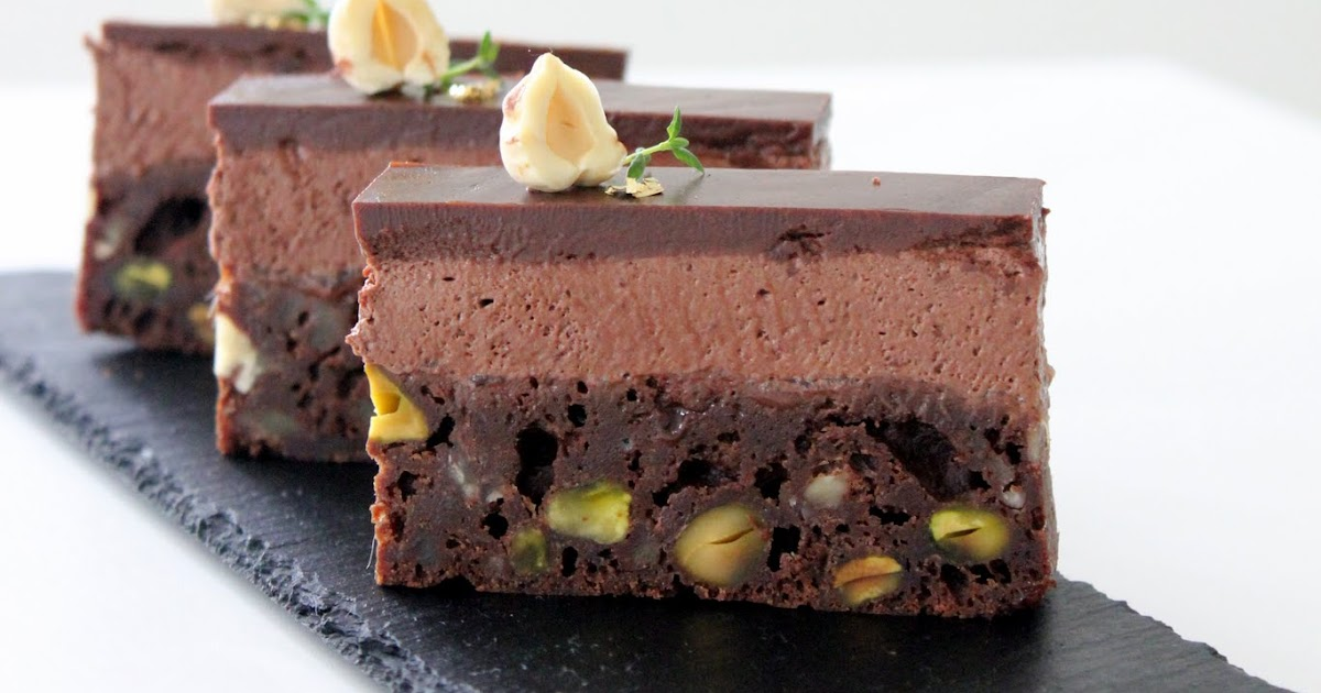brownie med chokolademousse