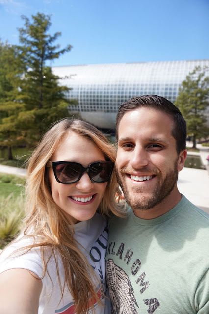 Couple visiting the Myriad Botanical Gardens in Oklahoma City