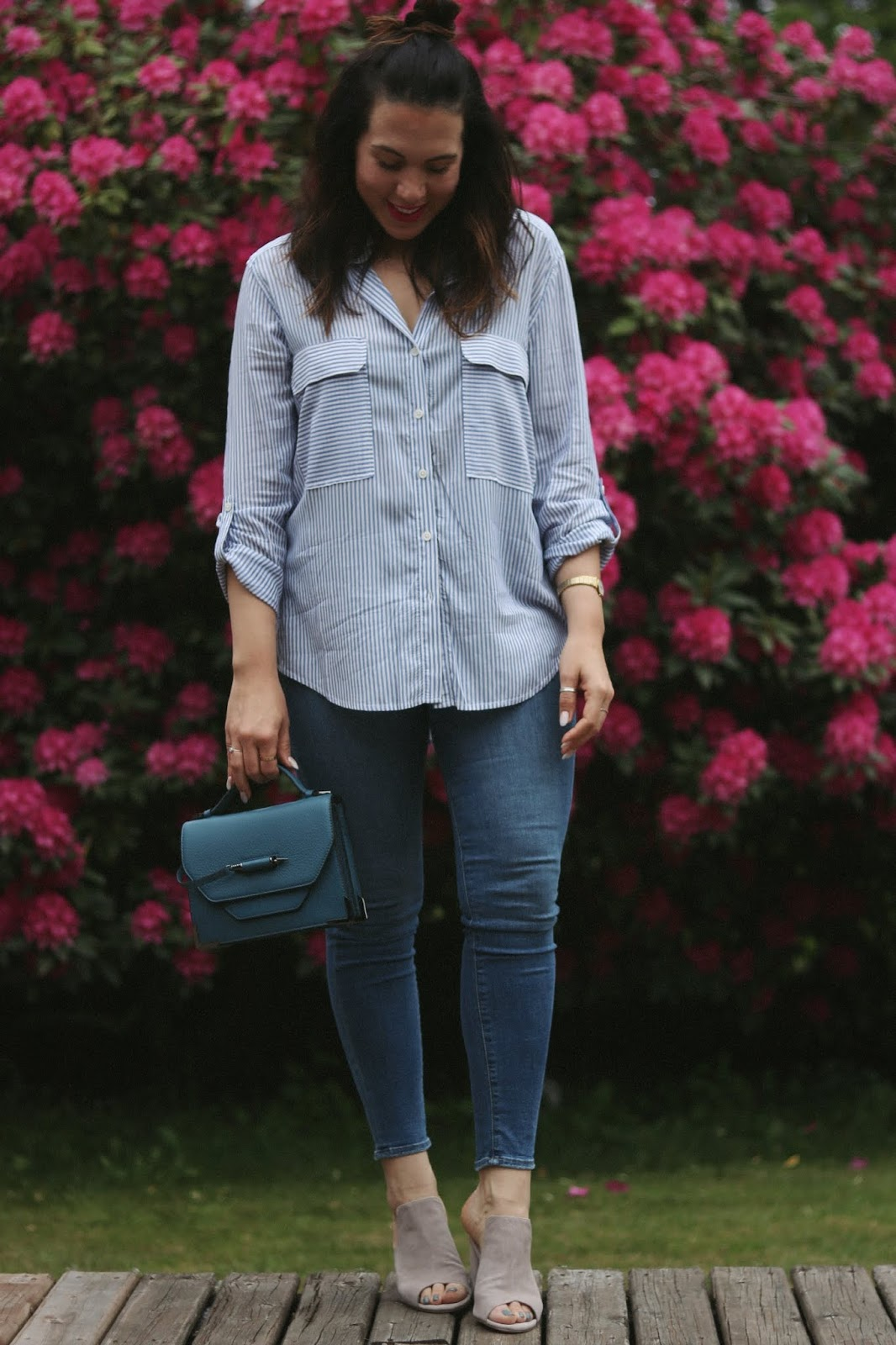 good american good legs jeans striped blouse outfit le chateau vancouver blogger mackage handbag aleesha harris