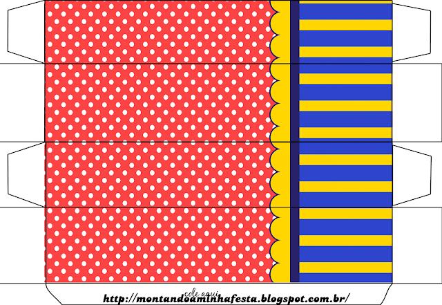 Cajas de Azul, Rojo y Amarillo  para imprimir gratis.