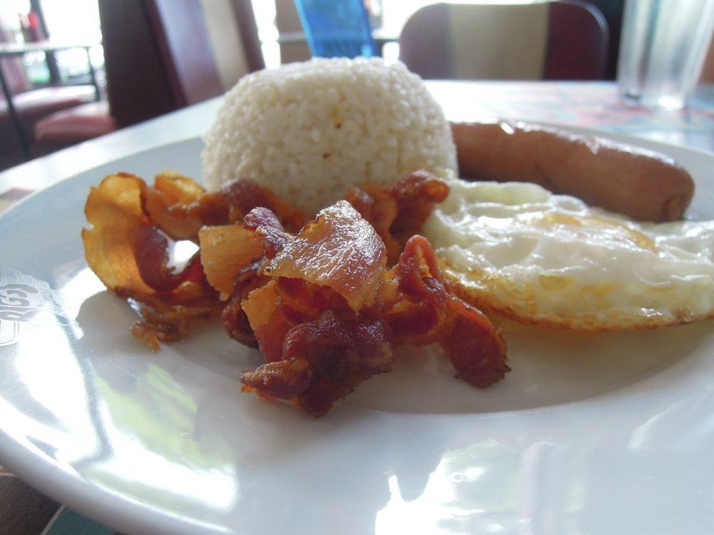 Bacon, eggs, and rice for breakfast at Bigg's Diner in Legazpi City, Albay